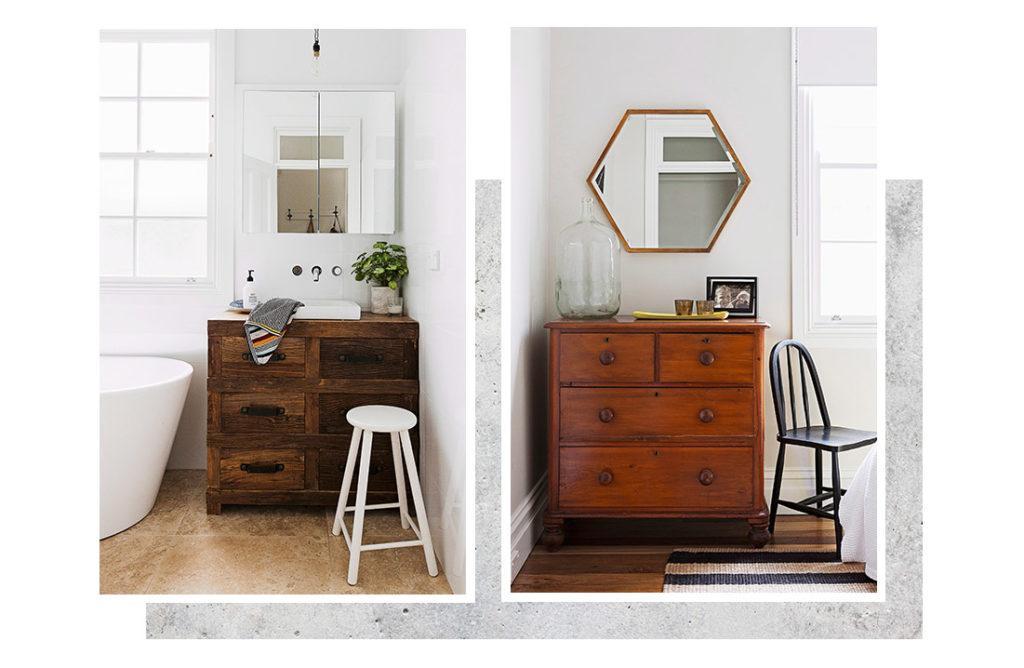 miroir carré accroché au mur dans salle de bain et miroir hexagonal suspendu au dessus d'une commode en bois