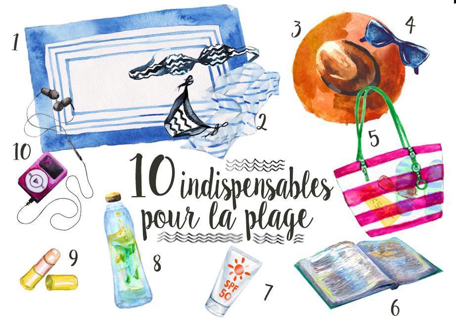Images des 10 indispensables a avoir dans son sac pour la plage