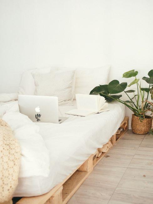 Chambre à coucher avec lit minimaliste avec draps blancs sur palettes, plante verte à côté