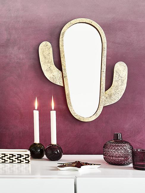 miroir mural doré en forme de cactus
