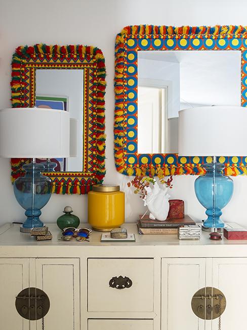 miroir mural coloré inspiriration mexique