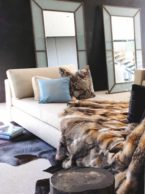 ottomane, chambre moderne, peau , cosy