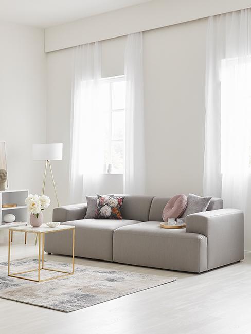 Salon avec canapé gris clair