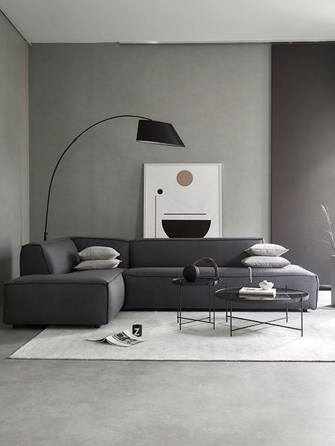 salon gris avec canapé gris, lampadaire noir et tapis beige