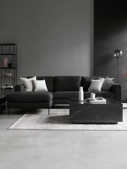 Salon gris avec canapé gris foncé
