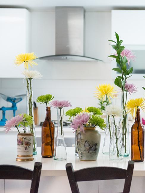 décoration de table DIY vintage avec vases chinés