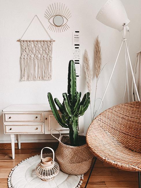 Coin cosy avec fauteuil suspendu, cactus, et meuble vintage