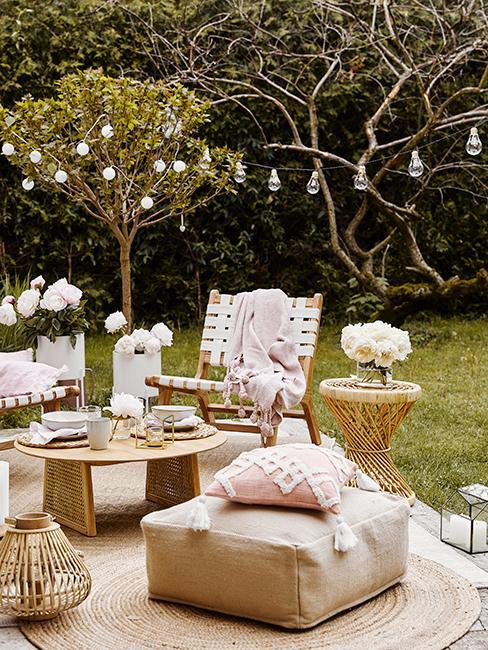 jardin avec salon de jardin boho