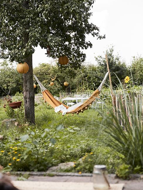 jardin avec hamac jaune accroché à un arbre planté au sol