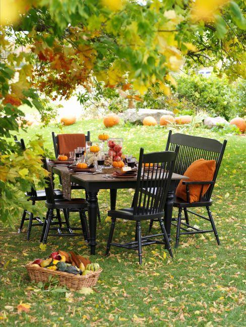 Table dressée à l'extérieur en automne, décoration citrouille, mobilier en bois et coussins oranges