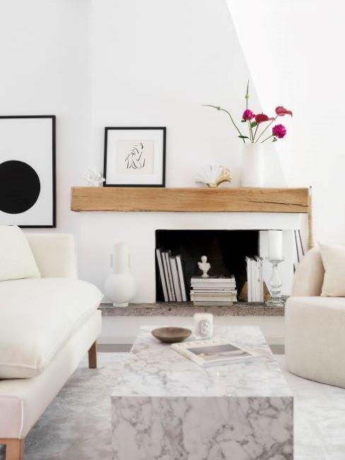 intérieur blanc et bois, intérieur scandinave