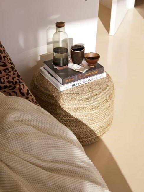matières tendance en décoration, pouf
