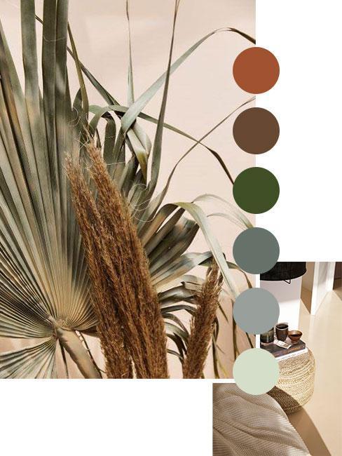 couleurs tendance vert et bronze