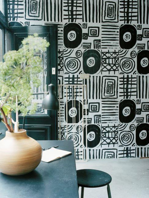 idée déco avec du papier peint noir et blanc