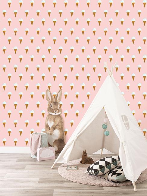 papier peint glace dans chambre d'enfant avec une tente
