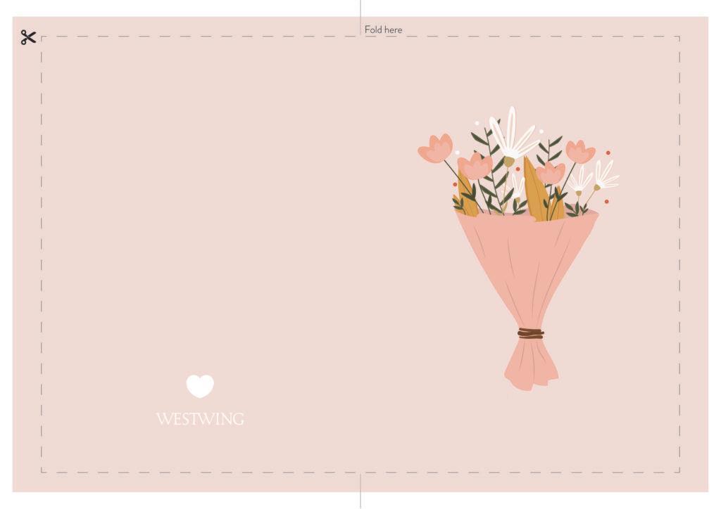 carte rose avec bouquet de fleurs