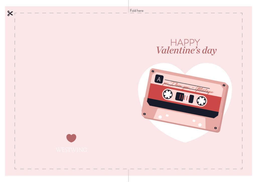 carte rose avec cassette