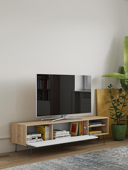 meuble TV en bois avec porte blanche