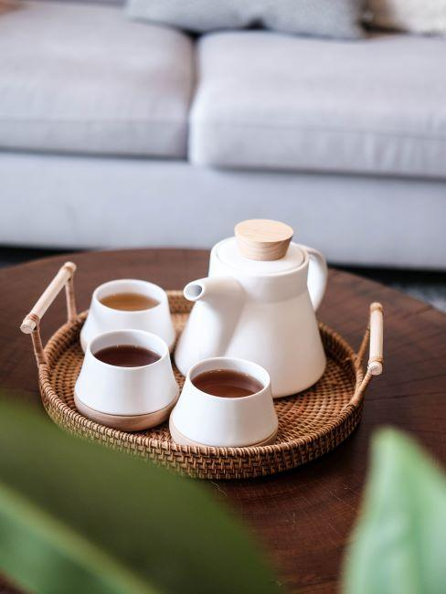 plateau avec service à thé japonais