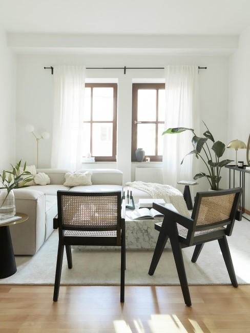 salon avec mobilier en cannage, chaises en cannage, canapé blanc,, style japandi, scandi, bohème, wabi-sabi