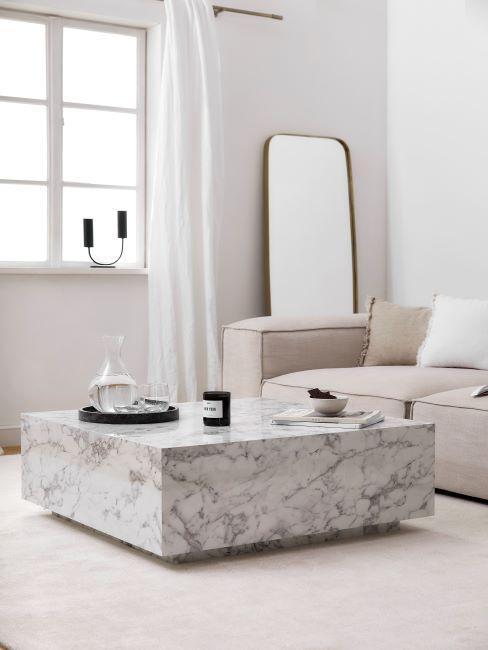 minimalisme scandi, table basse marbrée