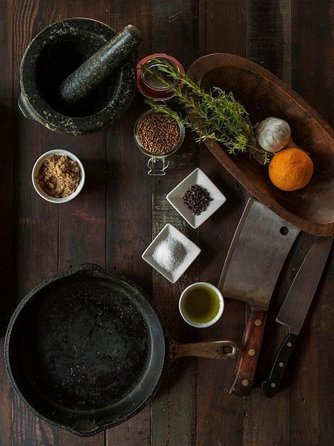 table avec ingredients cuisine