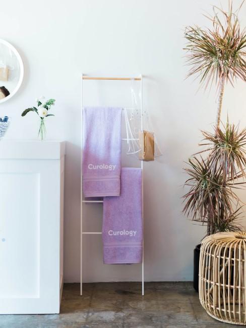 échelle avec serviettes mauves dans salle de bain