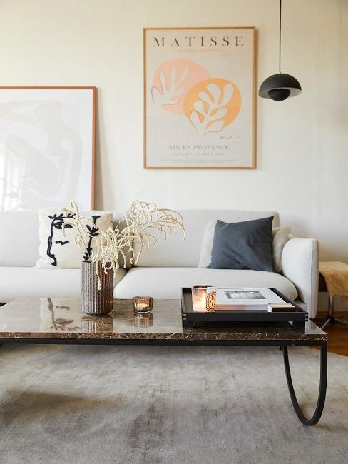 salon moderne avec tapis grege