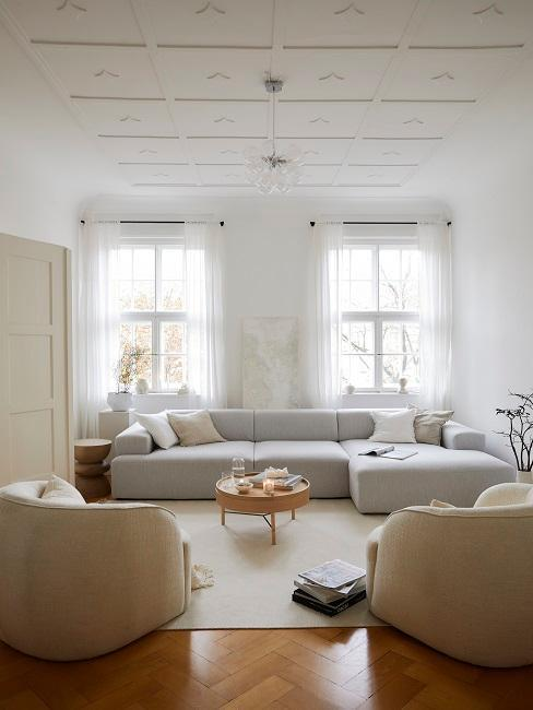 couleur gris et beige dans aménagement d'un large espace