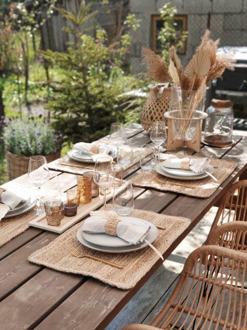 table d'été bohème, décoration de table