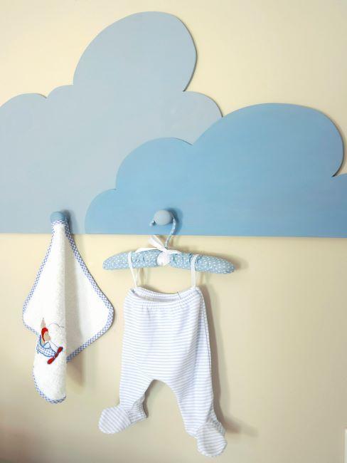 crochet mural en forme de nuage bleu pour chambre de bébé
