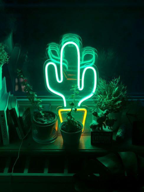 lampe décorative néon cactus
