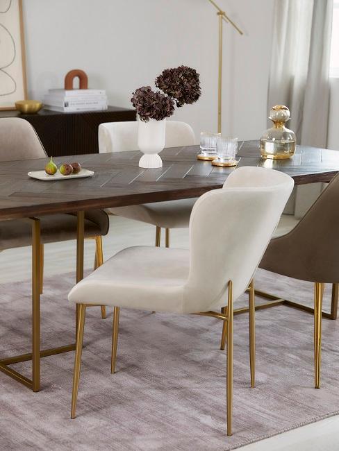 table de salle a manger et chaise blanche laine bouclee