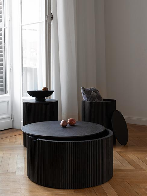 table basse ronde noire westwing collection retro artsy