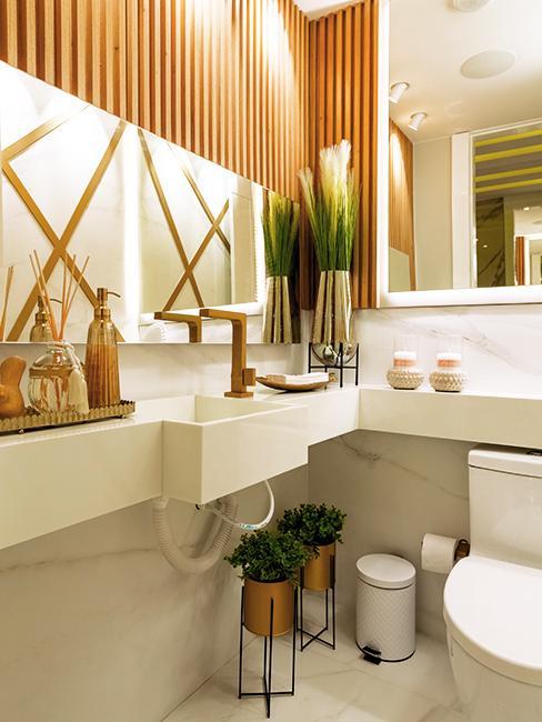 toilette blanc avec plantes