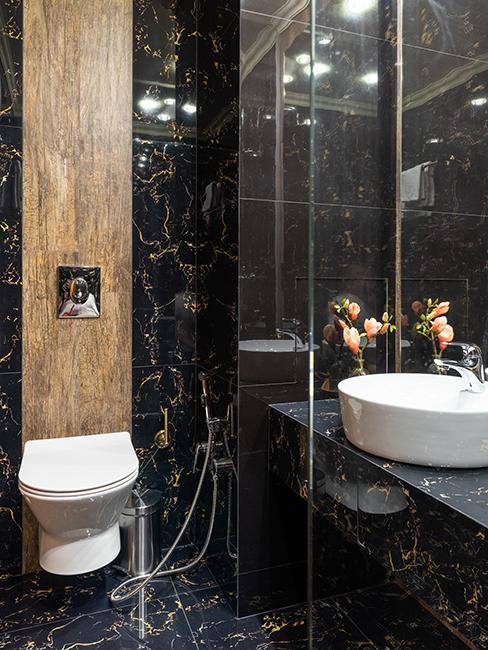 toilette moderne avec mur noir en marbre