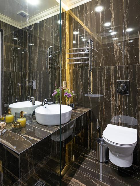 toilette avec mur effet marbre
