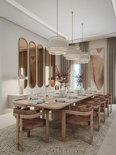 salle à manger avec grande table dans un style chic