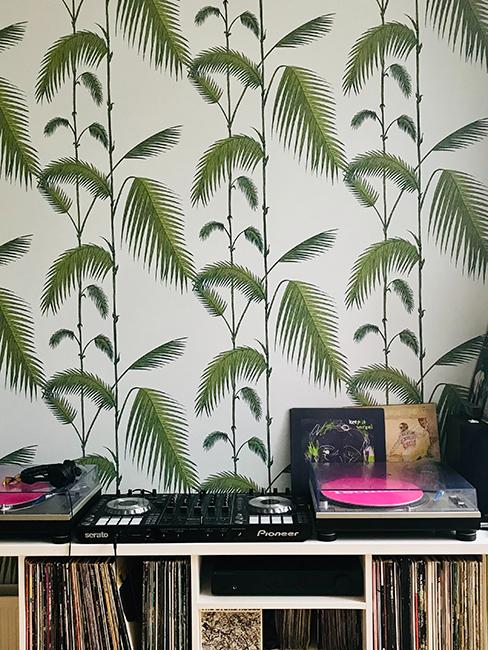 coin détente musique avec platine vynile et papier peint végétal