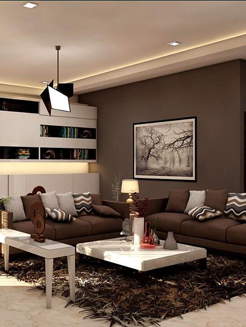 salon avec mur brun