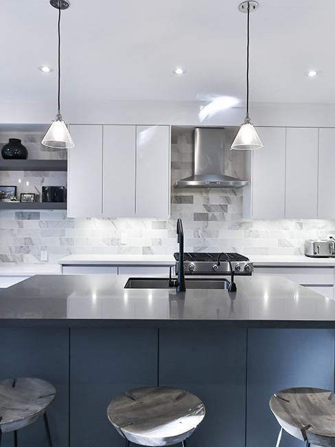 cuisine moderne bleu et gris