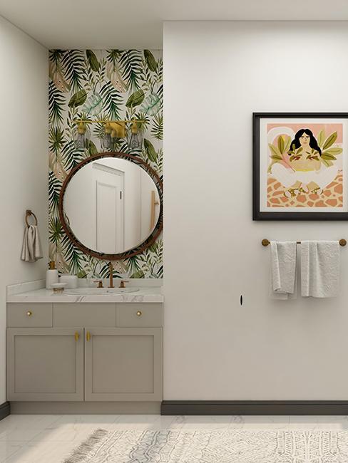 salle de bain avec papier peint