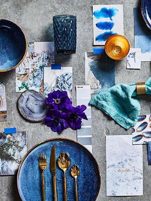 décoration de table bleue