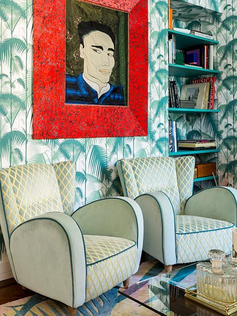 maison éclectiques avec papier peint vintage