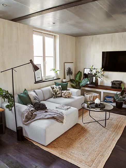 salon avec grand canapé et plantes