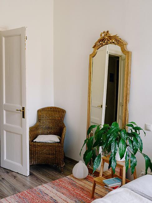 miroir baroque doré et plante