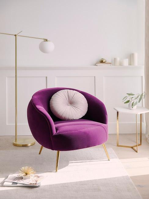 fauteuil violet en velours