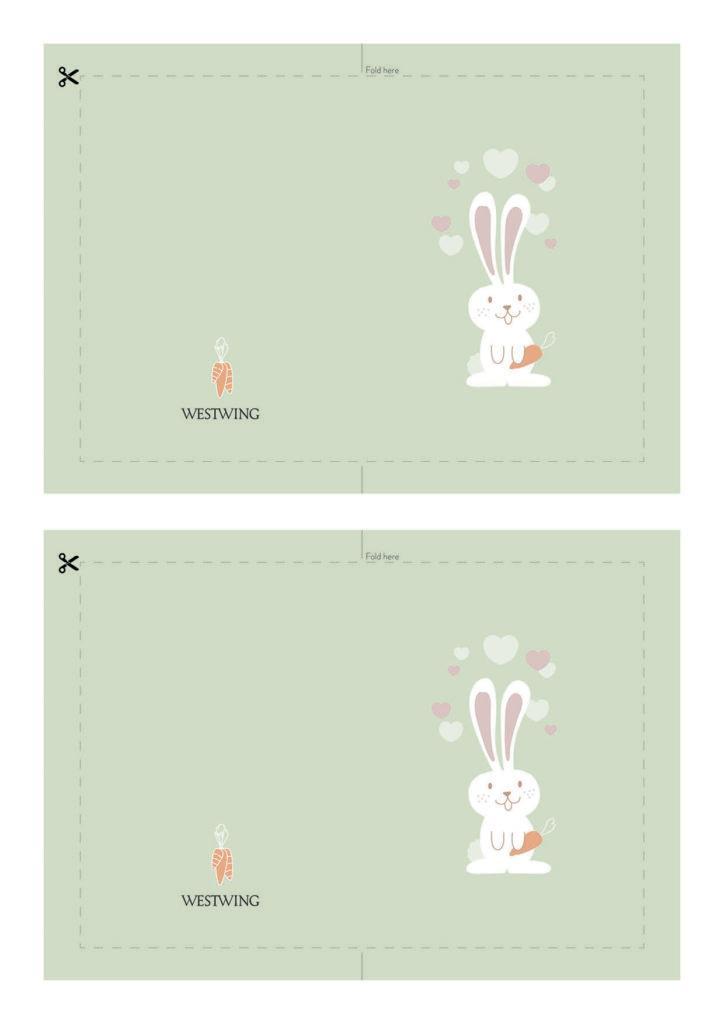 carte de paques à imprimer avec lapin