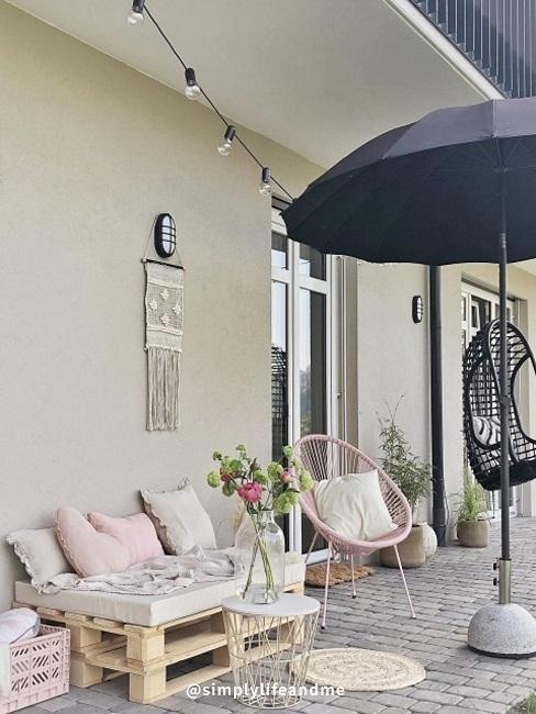 meubles de jardin en palette sur terrasse