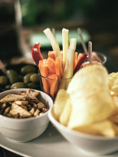 snack soirée cinéma de chips et légumes